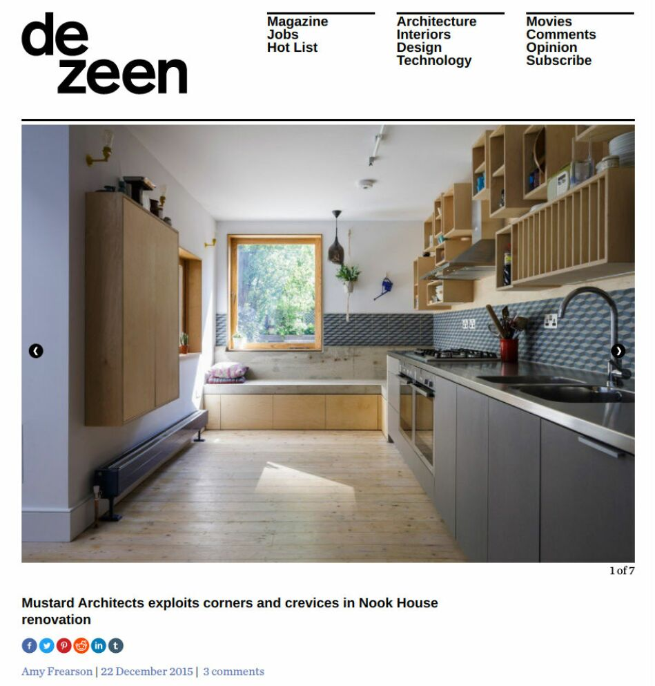 Dezeen website showing an article on Mustard Architect's Nook House