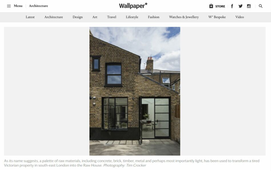 Wallpaper's website showing Mustard Architect's Raw House
